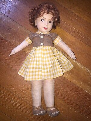 """Antique Molded Face Felt  Chad Valley Marked 16"""" Doll Gingham Dress Red hair"""