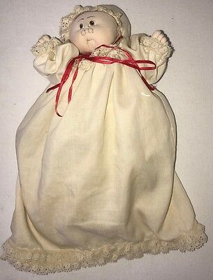 Homemade Cabbage Patch Doll Mini Doll With Bonnet And Dress
