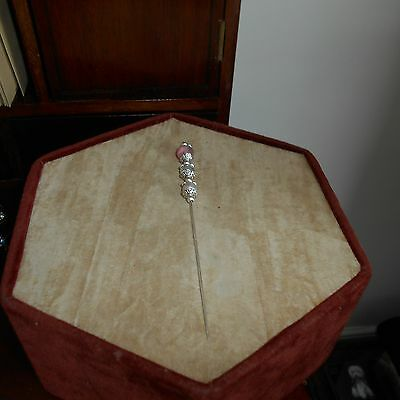 """Vintage style Silver plated 5"""" long hatpin with protector"""