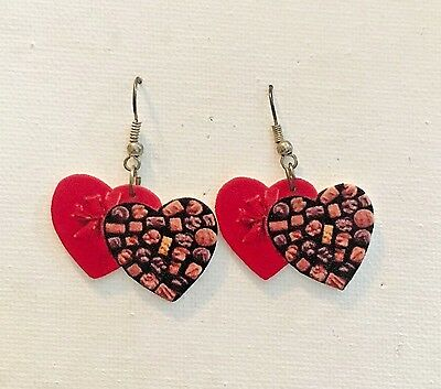 Love Stinks Heart Candy Anti Valentines Day Earrings Handmade
