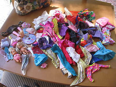Barbie Doll Clothes And Accessories, And 2 Baby Barbies Vintage Clothes, Lot Of