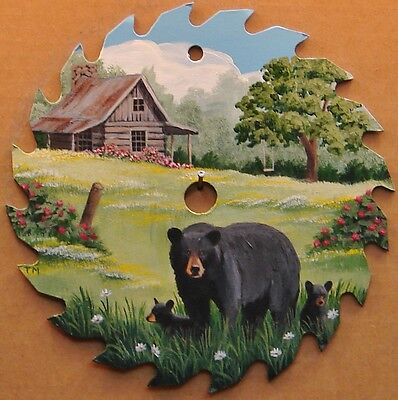 Hand Painted Saw Blade Black Bear and Cubs Log Cabin