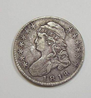 BARGAIN 1818/7 Capped Bust/Lettered Edge Half Dollar VERY FINE Silver 50c