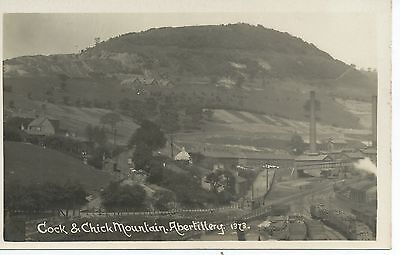 R/p postcard of Abertillery showing the railway and  coal yards Gwent Wales vgc