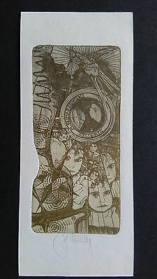 PAVEL HLAVATY - PICTORIAL BOOKPLATE ART EX LIBRIS HAND SIGNED - Klimaszewski