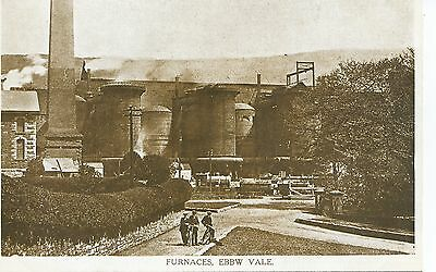 Printed postcard of the furnaces at Ebbw vale Gwent Wales vgc