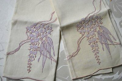 Antique Marghab Tea Towels One Pair In The Wisteria Pattern
