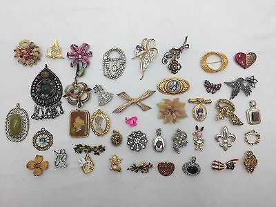 Lot of 40 Brooches Vintage to Current Pins/Brooches/Charms