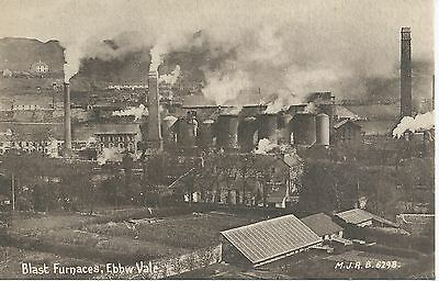 Printed postcard of the Blast furnaces at Ebbw vale Gwent Wales vgc