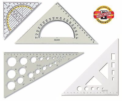 Set Square Template Protractor Koh-I-Noor Scale School Office Math Geometry New