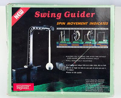 Golf swing guider practice tool. With spin movement indicator.