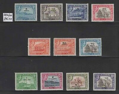 1951 ADEN complete surcharged set SG 36/46  CV £85 - Lovely fresh MH.
