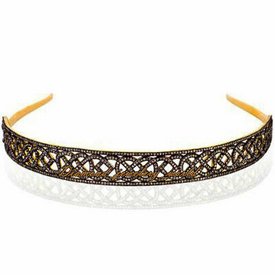 Estate Vintage 10.82cts Pave Rose Cut Diamond Sterling Silver Hair Band Jewelry