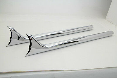 "Chrome Straight 30"" Scalloped Fishtail Exhaust Pipes Fits 1-3/4"" Harley Bobber"