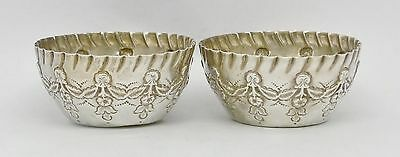 Gorgeous Pair Of Antique Victorian Era Solid Silver Salts Hm 1893 Art Nouveau