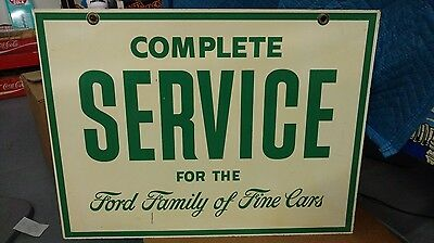 Rare Vintage Double Sided Metal Sign Complete Service Ford Family Of Fine Cars