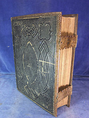 Victorian Brass Bound Leather Covered Family Bible Dated 1872 [4321]