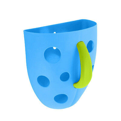 New Funny Security Plastic Baby Kids Bath Toy Scoop Storage Hanging box(blue DP
