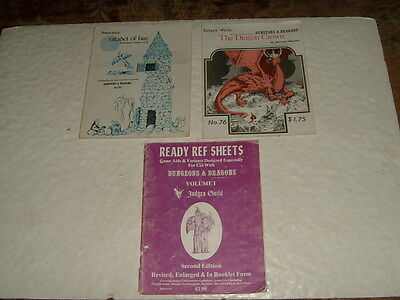 Judges Guild Dragon Crown 1979 Citadel Of Fire 1978 Ready Ref Sheets 1978