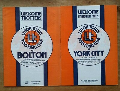 2 x Luton Town 1975/1976 Division 2 Programmes York City Bolton Wanderers 75/76