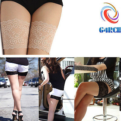 Womens Lace Elastic Non Slip Sock Anti-Chafing Thigh Band Prevent Leg Warmers