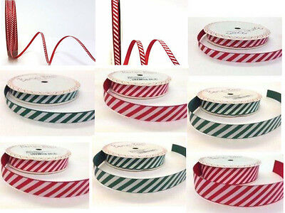 Christmas Ribbon Candy Stripe Grosgrain by Berties Bows Red or Green 5 Widths