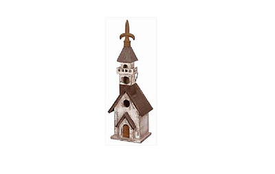 Birdhouse Church Black & White - Outdoor/Garden Decor - New in Box