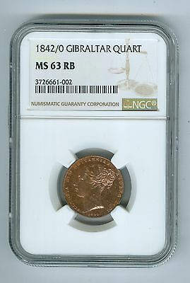 Great Brit: Quart 1842, 2 over 0, Grade MS-63 RB by NGC Full-Red:$385