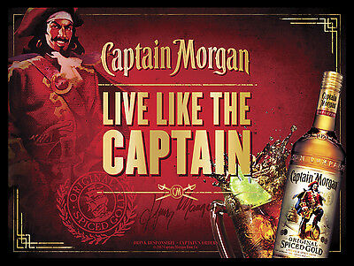 Captain Morgan Spiced Rum, Retro Metal Sign/Plaque Pub Bar Man Cave Wall