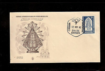 Argentina 1960 First Day Cover #722 First Inter American Marian Congress !!!