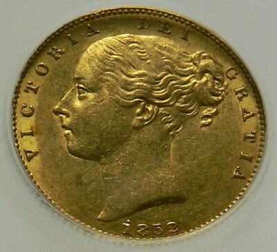 1852 AEF Queen Victoria Great Britain Shield Gold Sovereign Coin CGS 55, ~AU55.