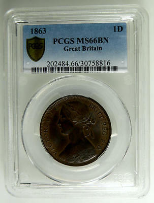1863 NFDC Queen Victoria British Penny Coin PCGS MS66 ☆☆☆ Price Reduced ☆☆☆