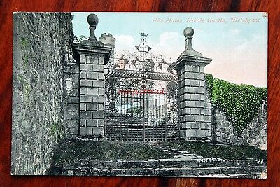 Posted 1912 Printed Postcard Welshpool Powis Castle The Gates