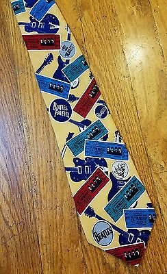 """The Beatles Yellow Neck Tie 1994 Apple Corps Limited Concert Tickets 57"""" Silk"""