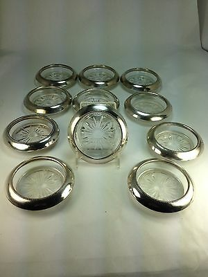 Vintage Frank M. Whiting Set of 10 Sterling Silver & Glass  Coasters