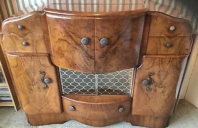 Vintage 1930s Art Deco Burr Walnut Mirrored & Illuminated Cocktail Cabinet