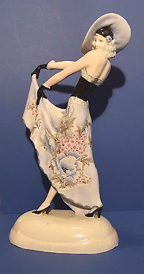 RARE Austrian Goldscheider Art Deco Maiden Figure hat and glove cm 40 signed