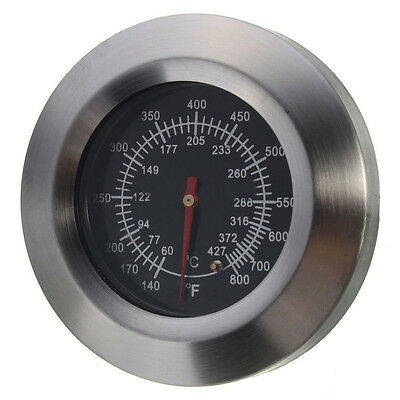 BBQ Smoker Grill Stainless Steel Thermometer Temperature Gauge 60℃-427℃ FK
