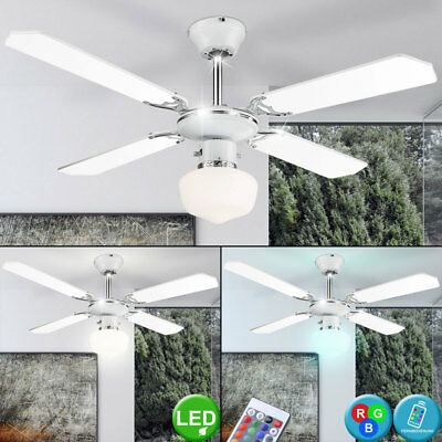 LED Ceiling Ventilator Fan RGB Remote Control Light Dimmable Kitchen Office