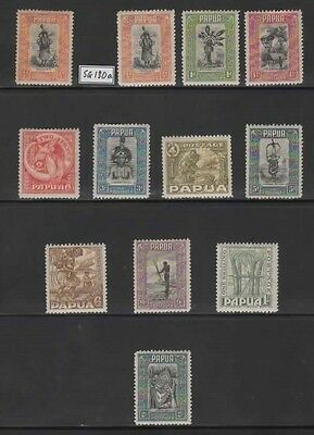 1932 PAPUA - KGV set to 1/- + 2/- SG 130/140 + 141 - CV £105. MH (see notes)