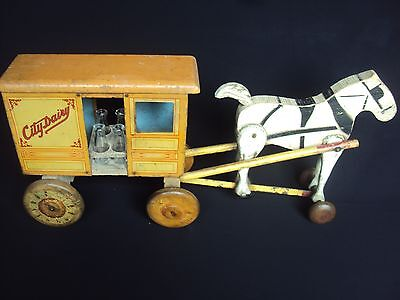 Circa 1930's Vetcraft CITY DAIRY Delivery Tin & Wood Toy -  free ship