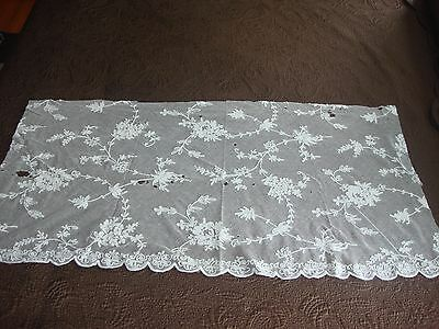 "Victorian Tambour Lace Fragment 40"" by 20"" Good for a Project"