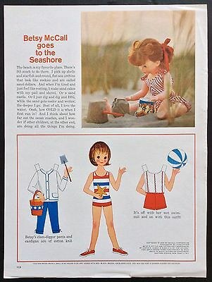 Vintage Betsy McCall Mag. PaperDoll, Betsy McCall at the Seashore, July 1962