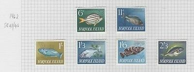 1962 NORFOLK IS. complete Fishes set SG 43/8 -  CV £6.25. Lovely fresh LHM.