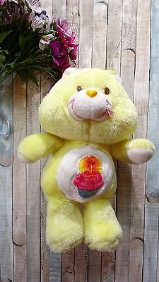 "Vintage 1983 Kenner Care Bears 12"" Birthday Bear Yellow with Cupcake Plush Toy"