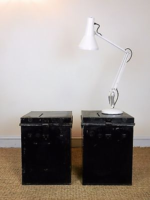 Pair of Vintage Industrial Metal Ballet Box Storage Chest Bedside Lamp Tables