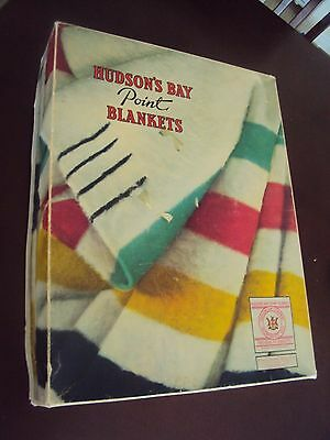 Vintage HBC Hudson Bay Company 4 Point Wool Blanket in Orig Box - FREE SHIPPING