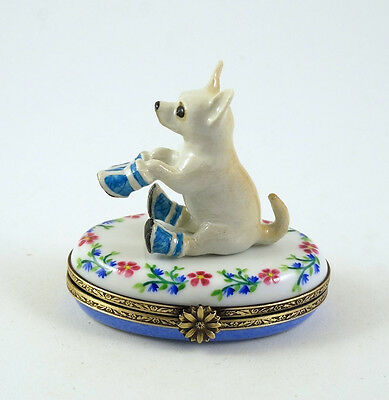 NEW FRENCH LIMOGES TRINKET BOX CUTE CHIHUAHUA DOG Puppy in BLUE BOOTS ON FLOWERS