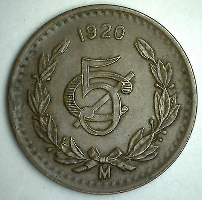 1920 Copper Bronze Mexico 5 Centavos Mexican Currency Coin XF