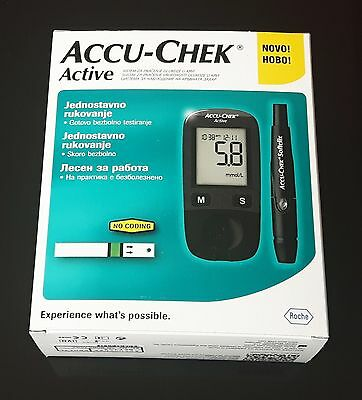 New Accu-Chek Active Blood Glucose Meter  + 50 Test Strips  Infrared by Roche